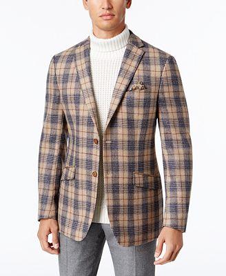 Tallia Men's Slim-Fit Oatmeal/Navy Plaid Sport Coat - Blazers
