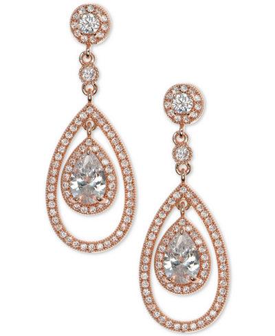 Anne Klein Crystal and Pavé Orbital Drop Earrings