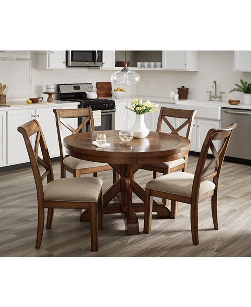 Furniture Mandara Round Expandable 7 Pc Set Dining Trestle Table 4 Side Chairs 2 Arm Macy S