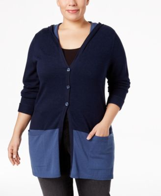 Style & Co. Plus Size Colorblocked Hooded Cardigan, Only at Macy's