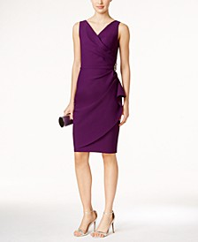Compression Embellished Ruched Sheath Dress