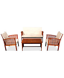 Kendale Outdoor Acacia Wood Sofa 4-Pc. Set, Quick Ship