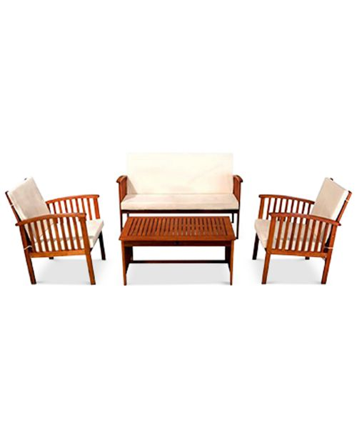 Kendale Outdoor Acacia Wood Sofa 4 Pc Set