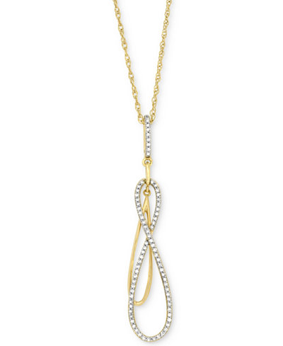 Wrapped in Love™ Diamond Double Infinity Pendant Necklace (1/6 ct. t.w.) in 14k Gold, Created for Macy's