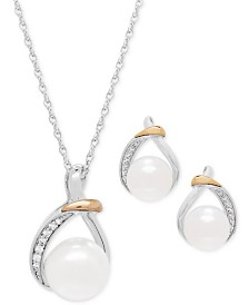 Cultured Freshwater Pearl (9 & 10mm) and White Topaz (1/6 ct. t.w.) Pendant Necklace and Earrings Set in Sterling Silver and 14k Gold