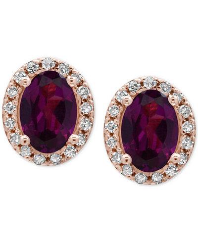 EFFY® Bordeaux Rhodolite Garnet (1-1/10 ct. t.w.) and Diamond (1/8 ct. t.w.) Stud Earrings in 14k Rose Gold