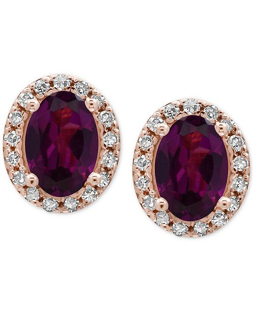EFFY Collection EFFY® Bordeaux Rhodolite Garnet (1-1/10 ct. t.w.) and Diamond (1/8 ct. t.w.) Stud Earrings in 14k Rose Gold