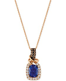 Chocolatier Tanzanite (2 ct. t.w.) and Diamond (1/2 ct. t.w.) Necklace in 14k Rose Gold