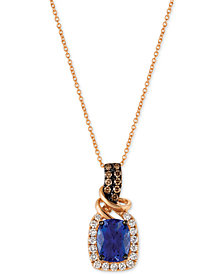 Le Vian® Chocolatier Tanzanite (2 ct. t.w.) and Diamond (1/2 ct. t.w.) Necklace in 14k Rose Gold