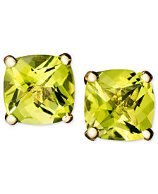 14k Gold Earrings, Peridot Cushion Studs (2 ct. t.w.)