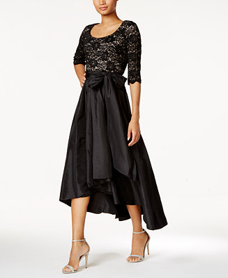 R & M Richards Petite Sequined Lace High-Low Dress ...