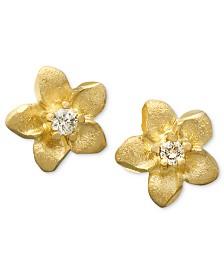Children's 14k Gold Earrings, Diamond Accent Flower Studs