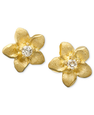 Children S 14k Gold Earrings Diamond Accent Flower Studs