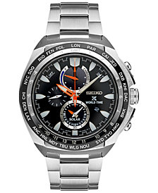 Seiko Men's Solar Chronograph Prospex World Time Stainless Steel Bracelet Watch 44mm SSC487