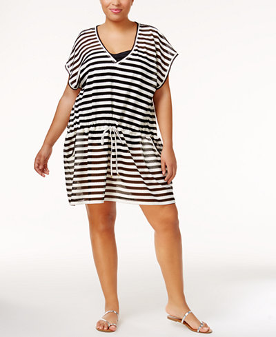 Calvin Klein Plus Size Striped Crochet Cover-Up
