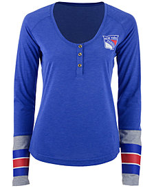 Reebok Women's New York Rangers Stripe Henley Long Sleeve T-Shirt