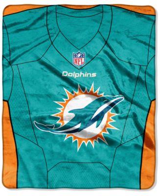 Miami Dolphins Jersey Plush Raschel Throw
