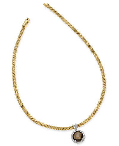 Smoky Quartz (6-3/8 ct. t.w.) and Diamond (1/2 ct. t.w.) Two-Tone Collar Necklace in 14k Gold-Plated Sterling Silver