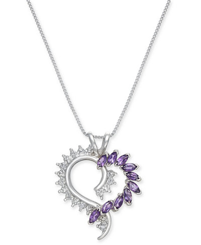 Amethyst (9/10 ct. t.w.) and Diamond Accent Heart Pendant Necklace in Sterling Silver