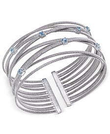Swiss Blue Topaz Multi-Row Cuff Bracelet (3/4 ct. t.w.) in Sterling Silver