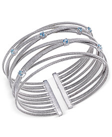 Swiss Blue Topaz Multi-Row Cuff Bracelet (3/4 ct. t.w.) in Sterling Silver