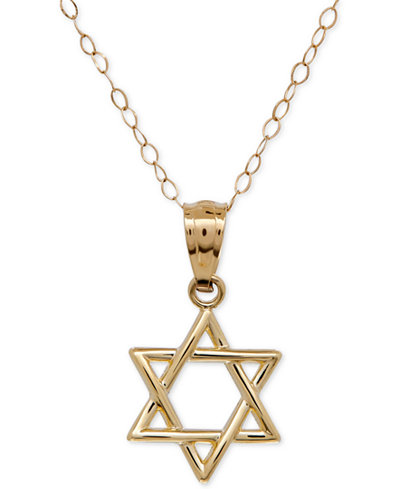 Children's Star of David Pendant Necklace in 14k Gold