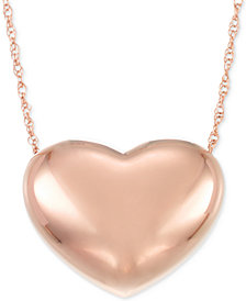 Signature Gold™ Puffed Heart Pendant Necklace in 14k Gold or 14k Rose Gold over Resin