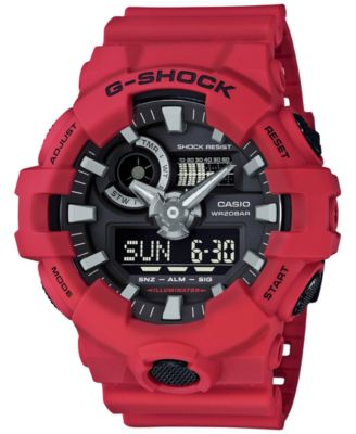 Image of G-Shock Men's Analog-Digital Red Resin Strap Watch 53x58mm GA700-4A