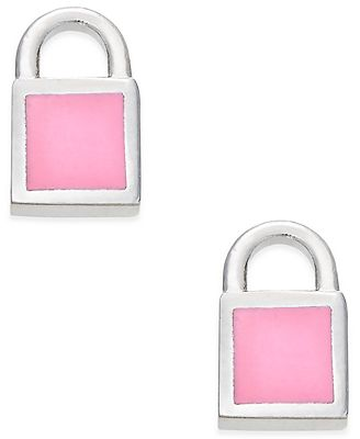 Marc by Marc Jacobs Silver-Tone Pink Enamel Padlock Stud Earrings