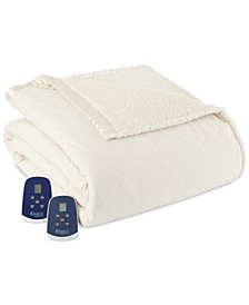 Reversible Micro Flannel® to Sherpa Twin Electric Blanket
