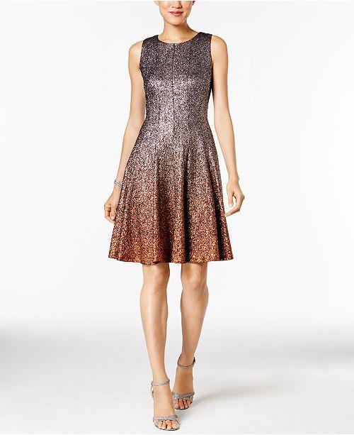 MSK Glitter Ombré Metallic Fit   Flare Dress - Dresses - Women - Macy s 607141acb442