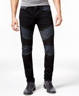 True Religion Men's Rocco Two Tone Skinny Moto Jeans - Jeans - Men ...