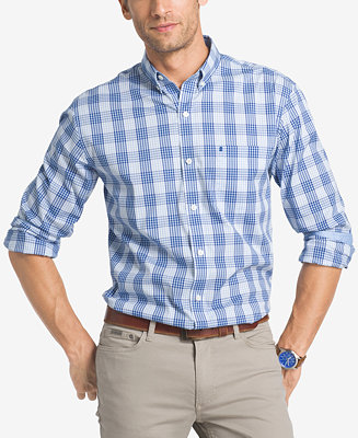 Izod men 39 s advantage non iron stretch poplin gingham shirt for Izod button down shirts