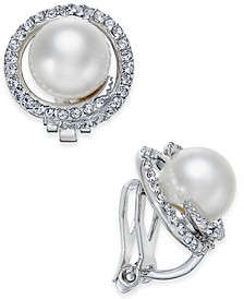 Silver-Tone Imitation Pearl Pavé Clip-On Stud Earrings, Created for Macy's