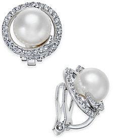 Danori Silver-Tone Imitation Pearl Pavé Clip-On Stud Earrings, Created for Macy's