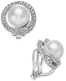 Eliot Danori Silver-Tone Imitation Pearl Pavé Clip-On Stud Earrings, Created for Macy's