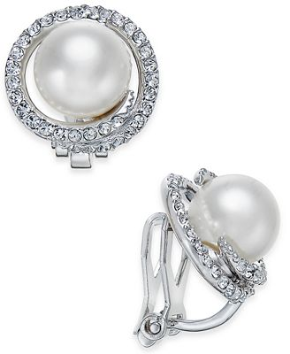 Danori Silver Tone Imitation Pearl Pave Clip On Stud Earrings