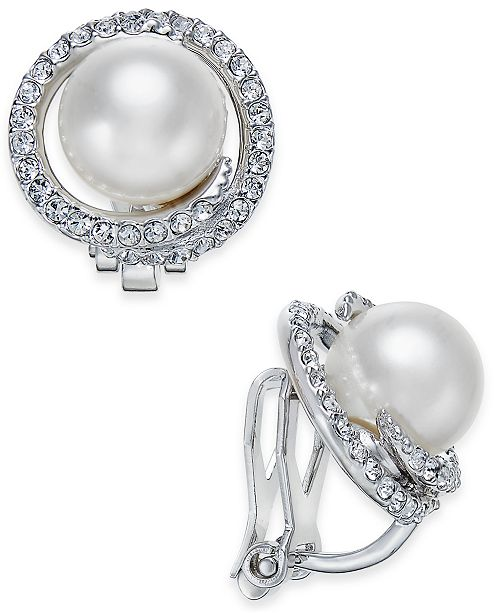 Danori Silver-Tone Imitation Pearl Pavé Clip-On Stud Earrings, Created for Macy's