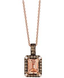 Chocolatier® Peach Morganite™ (3/4 ct. t.w.) and Diamond (1/5 ct. t.w.) Pendant Necklace in 14k Rose Gold