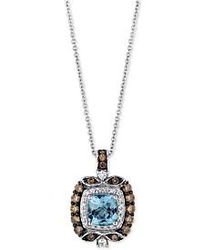 Le Vian® Chocolatier Aquamarine (3/4 ct. t.w.) and Diamond (1/2 ct. t.w.) Square Pendant Necklace in 14k White Gold