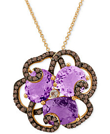 Le Vian® Crazy Collection® Amethyst (3/4 ct. t.w.), Smoky Quartz (5/8 ct. t.w.) and White Topaz Accent Pendant Necklace in 14k Rose Gold