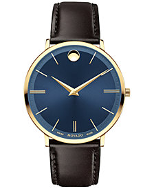 Movado Men's Swiss Ultra Slim Brown Leather Strap Watch 40mm 0607088