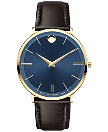 Movado Men's Swiss Ultra Slim Brown Leather Strap Watch 40mm 0607088