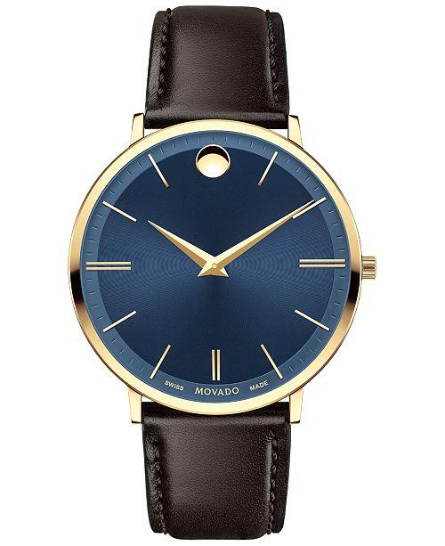 d7d559aa8edcd ... Movado Men s Swiss Ultra Slim Brown Leather Strap Watch 40mm 0607088 ...