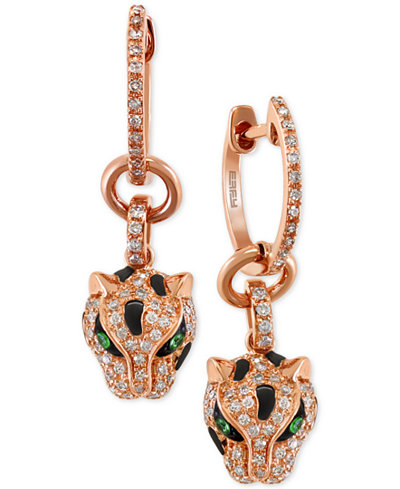 Signature by EFFY Diamond (3/8 ct. t.w.) and Tsavorite Accent Panther Drop Earrings in 14k Rose Gold