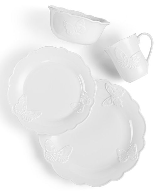 Lenox Butterfly Meadow Carved Collection 4 Piece Place Setting ...