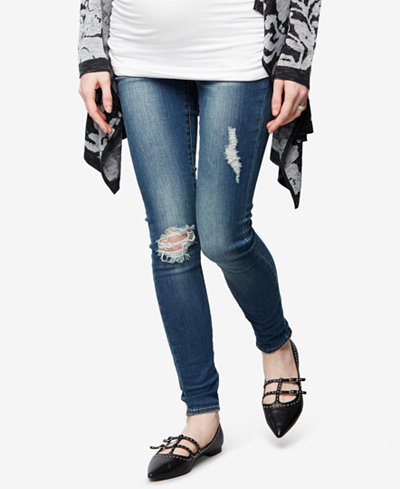 Articles of Society Maternity Distressed Medium Wash Skinny Jeans ...