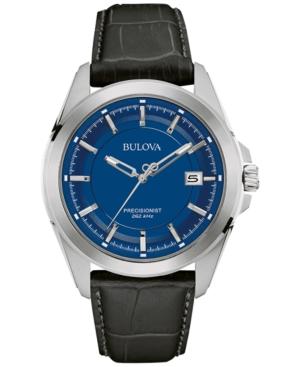 Bulova Men's Precisionist Dark Brown Leather Strap Watch 43m