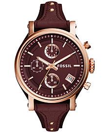 Fossil Women's Chronograph Original Boyfriend Red Leather Strap Watch 38mm ES4114