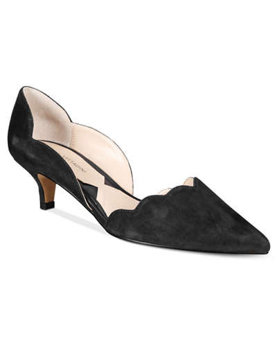 Adrienne Vittadini Serene Scalloped Kitten-Heel Pumps - Pumps ...